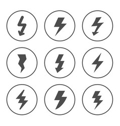 set round icons lightning vector image