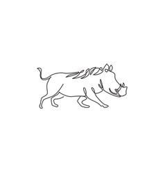single continuous line drawing wild common vector image