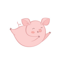 single pig character on white background vector image