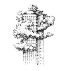 Skyscraper in the clouds sketch vector