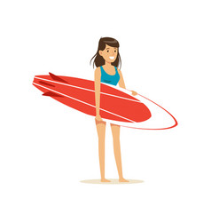 smiling brunette girl standing on the beach with vector image vector image