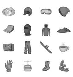 Snowboarding icons set gray monochrome style vector