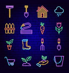 spring garden neon icons vector image