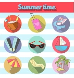 Summer beach travel logo icon vector image