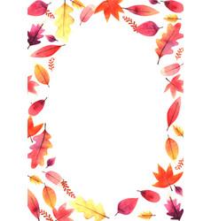 Sweet color autumn leaves freme watercolor vector