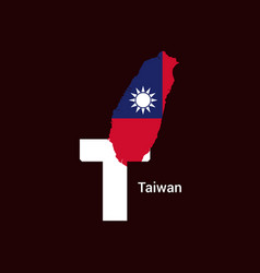taiwan initial letter country with map and flag vector image