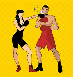 The war of the sexes beautiful girl boxer hitting vector