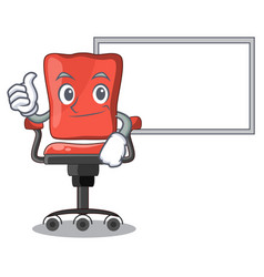 Thumbs up with board character office desk chair vector