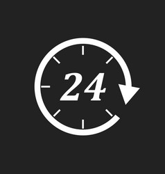 Time icon flat 24 hours on black background vector