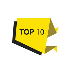 Top10 text in label black yellow vector
