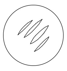 Trail of claws black icon outline in circle image vector