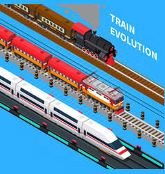 train evolution isometric composition vector image