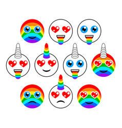 unicorns characters and emoticons of emoji vector image vector image