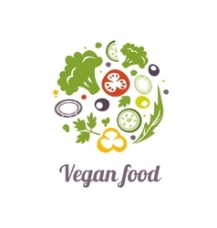 Vegan food icon Logo design template vector