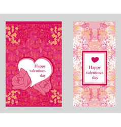 Vintage style Valentine Day Card Set vector image
