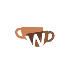 W letter coffee cup overlapping color logo icon vector