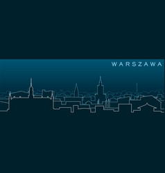 Warsaw multiple lines skyline and landmarks vector