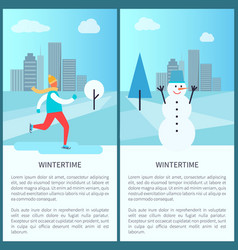 Wintertime in park posters vector