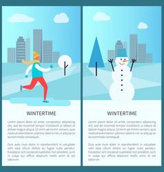 Wintertime in park posters vector