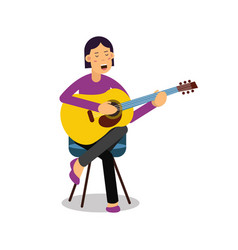 Young woman playing an acoustic guitar and singing vector