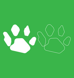 animal footprint icon white color vector image vector image