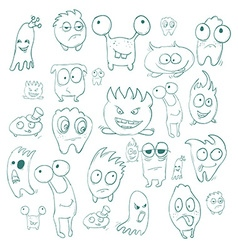 Contour funny monsters for Halloween holiday or vector image vector image