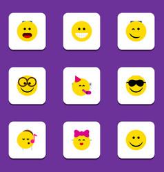 flat icon emoji set of party time emoticon vector image vector image