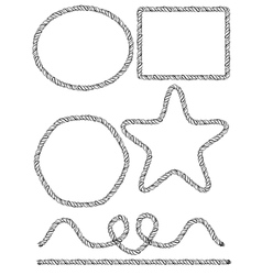 Set of hand drawn rope frames vector image