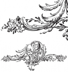 antique floral scroll ornament engraving vector image vector image
