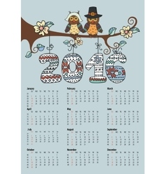 Calendar 2016Owl couple and Knitting numbers vector image