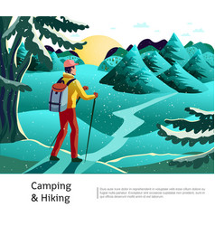 camping hiking background poster vector image vector image