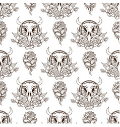 seamless pattern from outline drawings of cows vector image vector image