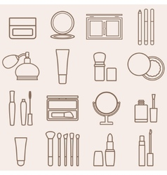 Set of silhouette beauty and cosmetics icons vector image vector image