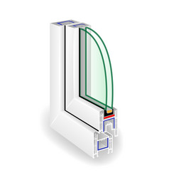 Window frame structure two transparent glass vector