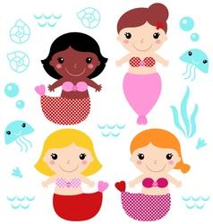 Little cute colorful Mermaids set vector image vector image
