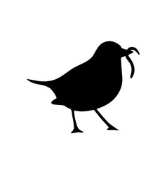 bird and worm silhouette vector image