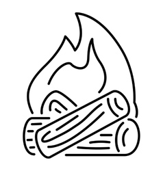 Burning bonfire icon outline style vector image