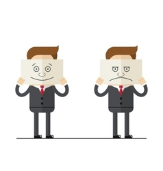 Businessman covers his face with paper painted vector image vector image