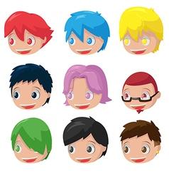 Character Cartoon Hair Head Set vector image vector image