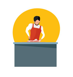 man sells meat in working apron cuts meat knife vector image