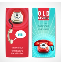 Old telephone banners vertical vector image