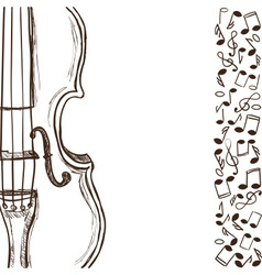 Violin or bass and music notes vector image vector image