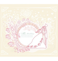 wedding dancing couple on abstract background card vector image