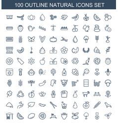 100 natural icons vector