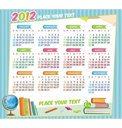 2012 educational calendar vector image