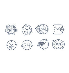 24-7 icons set twenty four-seven all the vector image