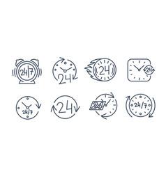 24-7 icons set twenty four-seven all vector