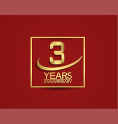 3 years anniversary with square and swoosh golden vector