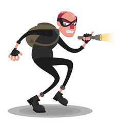 A balding thief in a mask with a flashlight on a vector