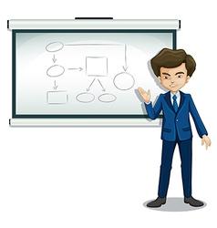 A boy explaining the diagram in the bulletin board vector
